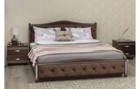 Деревянная кровать Прованс с патиной и фрезеровкой мягкой спинкой ромбы и механизмом Олимп