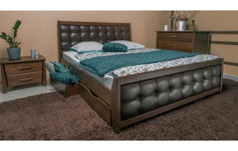 Деревянная кровать Сити Премиум с мягкой спинкой и ящиками Олимп